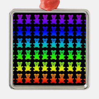 Psychedelic teddy bears. Silver-Colored square ornament