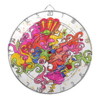Psychedelic Thoughts Dartboard With Darts