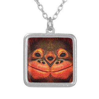 Psychedelic Three Eyed Monkey Silver Plated Necklace