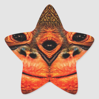 Psychedelic Three Eyed Monkey Star Sticker