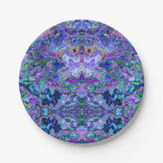 Psychedelic Tie-Dye Marble Purple Pattern 7 Inch Paper Plate