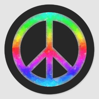 Psychedelic Tie-Dye Peace Sign Stickers (Black)