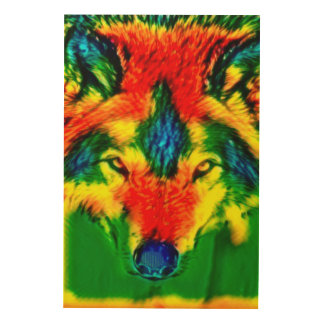 Psychedelic Tie Dye Wolf Wildlife Art Wood Canvas