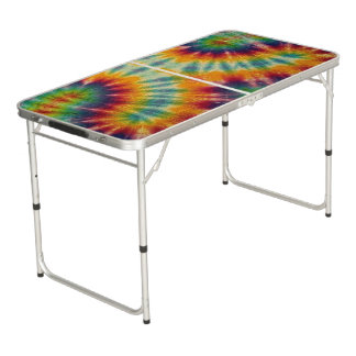 Psychedelic Tiedye Beer Pong Tailgate Table