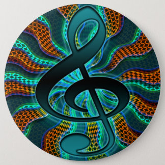 Psychedelic Treble Clef / G Clef Music Symbol 6 Inch Round Button