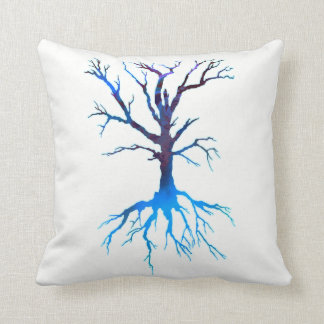 Psychedelic Tree 2 (blue) Throw Pillow
