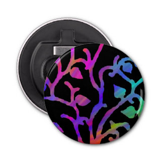 Psychedelic Tree of Life Button Bottle Opener