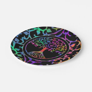Psychedelic Tree of Life Paper Plate