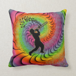 Psychedelic Trombone Player Blowing Notes Throw Pillow