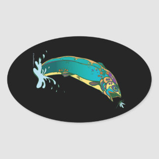 Psychedelic Trout Fishing Oval Sticker