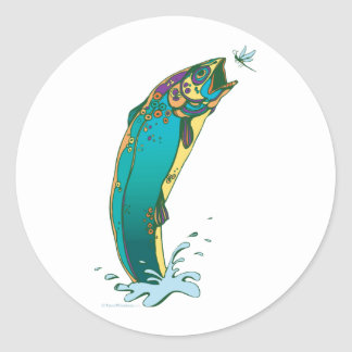 Psychedelic Trout Fishing Round Sticker