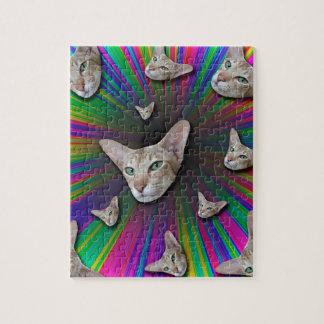 Psychedelic Tye Die Cat Jigsaw Puzzle