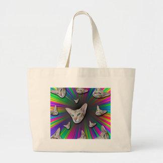 Psychedelic Tye Die Cat Large Tote Bag
