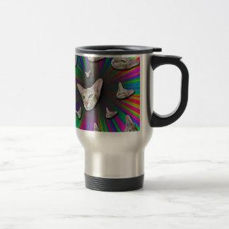 Psychedelic Tye Die Cat Travel Mug