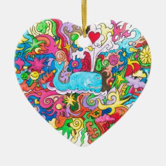 Psychedelic Wale Ceramic Heart Ornament