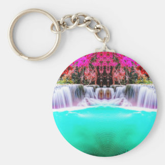 Psychedelic Waterfall Basic Round Button Keychain