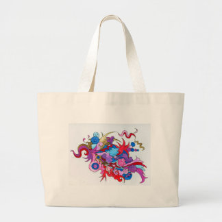 Psychedelic Wave Large Tote Bag