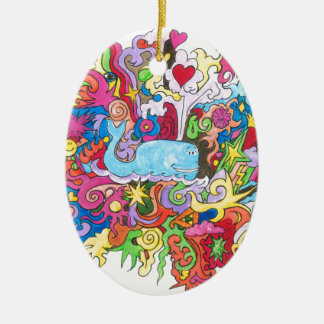 Psychedelic Whale Ceramic Ornament