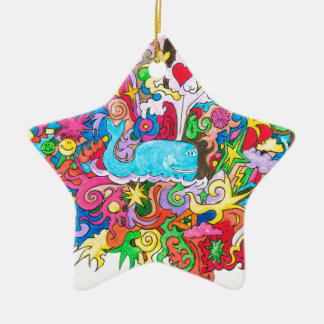 Psychedelic Whale Ceramic Star Ornament