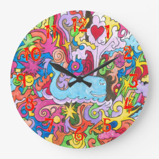 Psychedelic Whale Large Clock