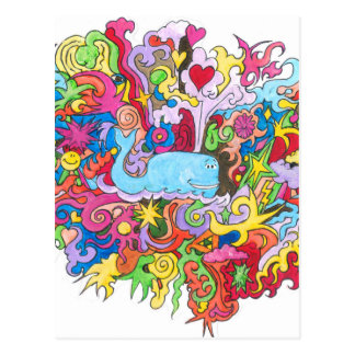 Psychedelic Whale Postcard