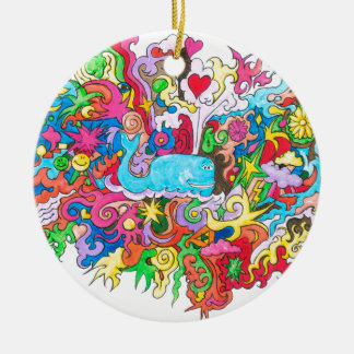 Psychedelic Whale Round Ceramic Ornament