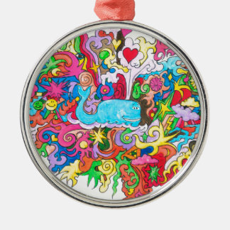 Psychedelic Whale Silver-Colored Round Ornament
