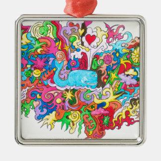 Psychedelic Whale Silver-Colored Square Ornament