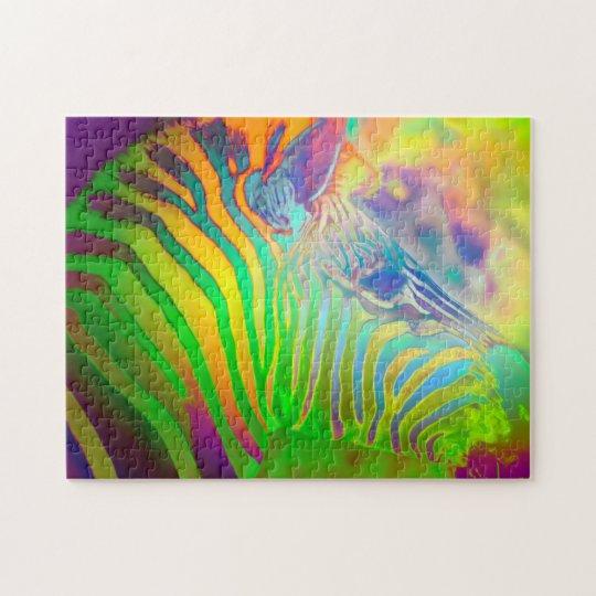 Psychedelic Wild Life Zebra Jigsaw Puzzle