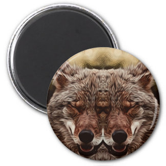 Psychedelic Wolf 2 Inch Round Magnet