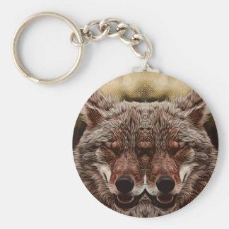 Psychedelic Wolf Basic Round Button Keychain