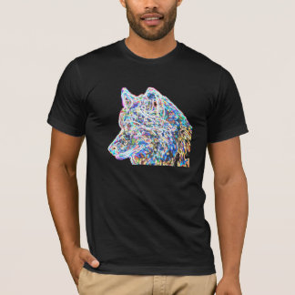 Psychedelic wolf black t-shirt