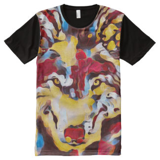 Psychedelic Wolf Shaman Abstract Art Graphic Tee