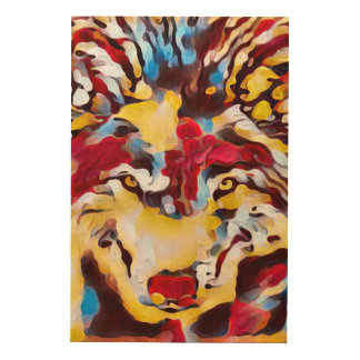 Psychedelic Wolf Shaman Abstract Art Wood Prints