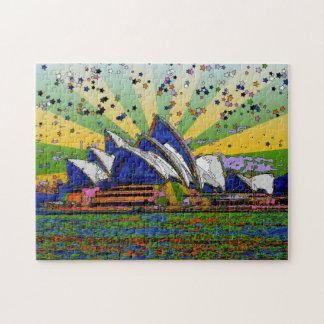 Psychedelic World: Sydney Australia Skyline A2 Puzzle