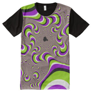 Psychedelic Wormhole Optical Illusion Pattern All-Over-Print T-Shirt