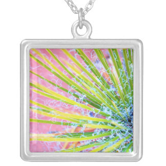 Psychedelic Yucca Abstract Silver Plated Necklace