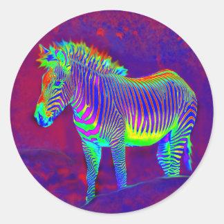 psychedelic zebra classic round sticker