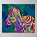 psychedelic zebra poster