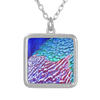 Psychedellic Blue Feathers Silver Plated Necklace