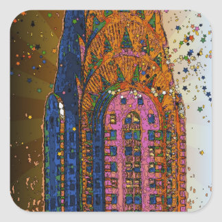 Psychedlic NYC: Chrysler Building Top Closeup #1 Square Sticker