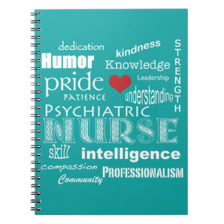 Psychiatric Nurse-Attributes/Aqua Blue Notebooks