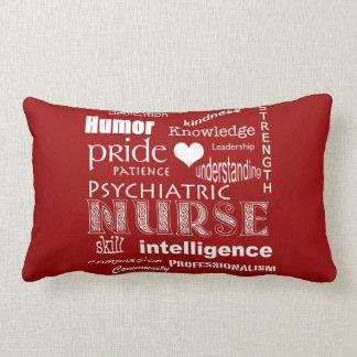 Psychiatric Nurse Pride-Attributes/Deep Red Lumbar Pillow