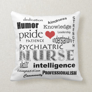 Psychiatric Nurse Pride+Heart Throw Pillow