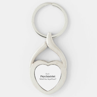 Psychiatrist Silver-Colored Twisted Heart Keychain