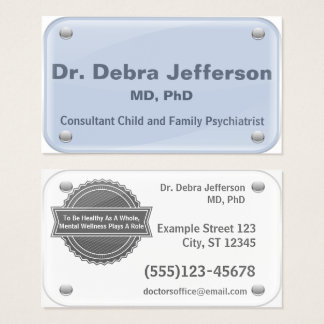 Psychiatrist - Therapist - glass name tag effect Business Card