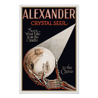 Psychic Readings by Alexander, 1910. Vintage Magic Poster
