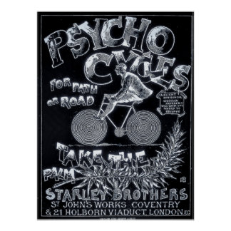 Psycho Cycles For Path or Road - Vintage Bike Ad Poster