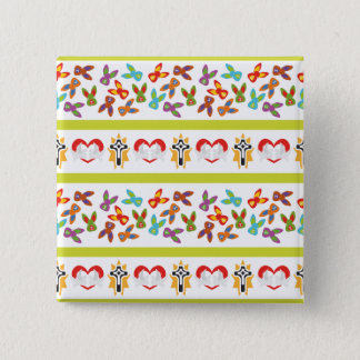 Psycho Easter Pattern colorful 2 Inch Square Button