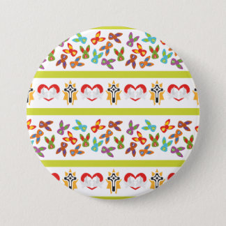 Psycho Easter Pattern colorful 3 Inch Round Button
